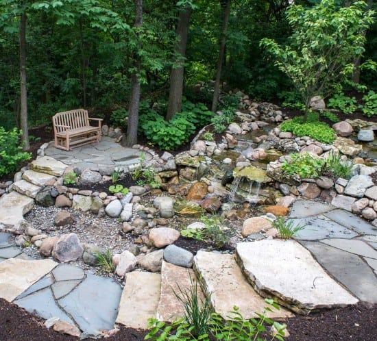 Lotus Gardenscapes -- Waterfall in the Woods -- Terraced Path, Bench and Waterfall -- Stone, Water