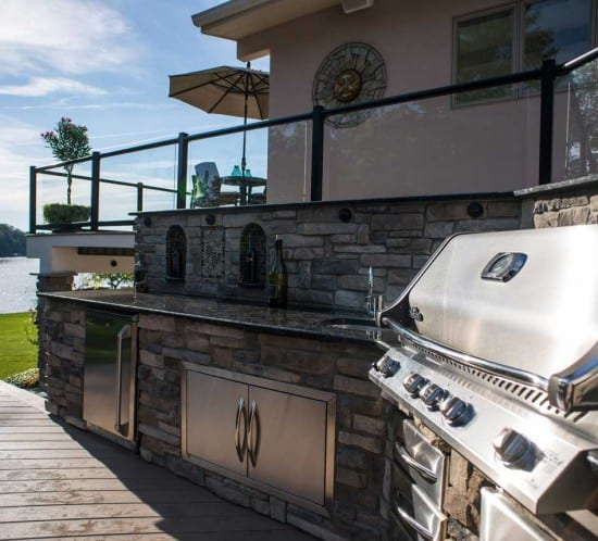 Lotus Gardenscapes -- Lakeside Deck, Patio and Outdoor Kitchen -- Outdoor Kitchen and Deck -- Stone