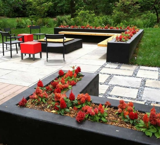 Lotus Gardenscapes -- Modern Firepit and Patio -- Custom Planters and Bench -- Stone