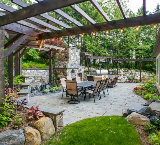 rustic urban retreat - outdoor room with bluestone patio & pergola