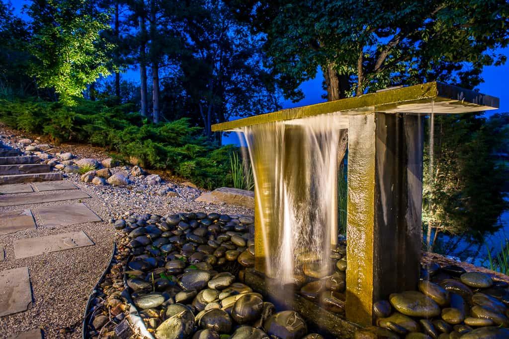 zen modern water feature night